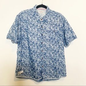 7 Diamonds Vintage Blue Floral Men's Button Up
